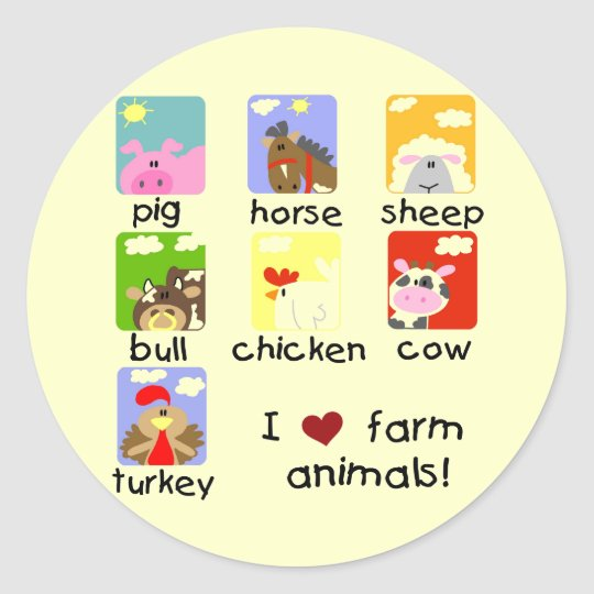 Farm Animals Tshirts and Gifts Classic Round Sticker