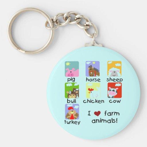 Farm Animals Tshirts and Gifts Keychains