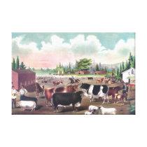 Farm Animals Vintage Painting Canvas Print