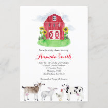 FARM ANIMALS watercolor Baby Shower Invitation