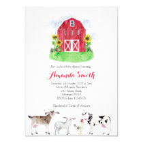 FARM ANIMALS watercolor Baby Shower Invitation