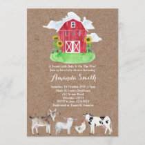 FARM ANIMALS watercolor kraft Baby Shower Invitation