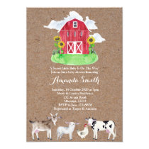 FARM ANIMALS watercolor kraft Baby Shower Invitation