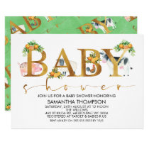 Farm Animals Word Baby Shower Invitation