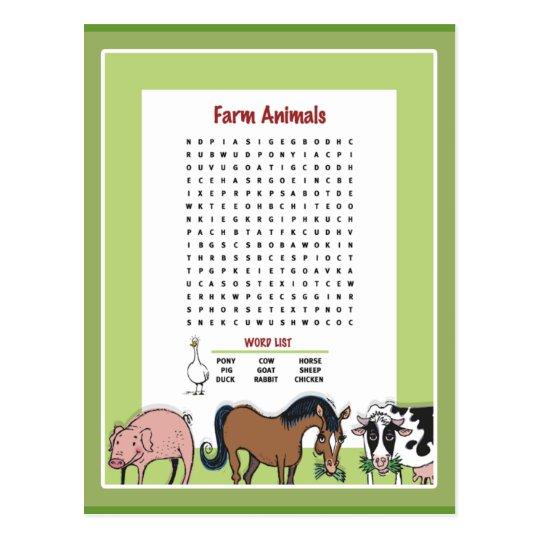 Farm Animals Word Search Postcard