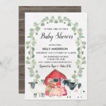 Farm Animals Wreath Baby Shower Invitation