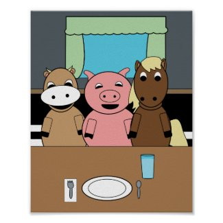 Farm at Table Funny Cow Pig Horse Poster