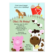 Farm Babies Barnyard 5x7 Birthday Invitation