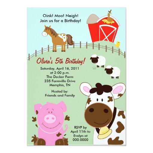 """Farm Babies Barnyard 5x7 Birthday Invitation 5"""" X 7"""" Invitation Card"""
