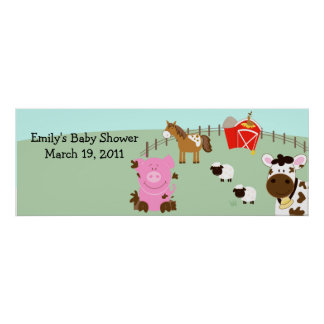 Farm Babies Barnyard Barn Yard Birthday Banner Poster
