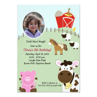 Farm Babies Barnyard *PHOTO* Birthday 5x7 5x7 Paper Invitation Card