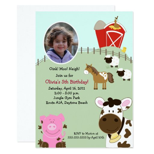 Farm Babies Barnyard *PHOTO* Birthday 5x7 Card