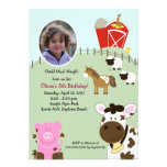 Farm Babies Barnyard *PHOTO* Birthday 5x7 Invite