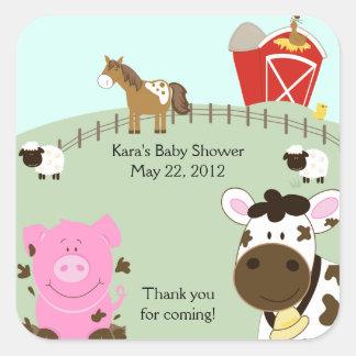 FARM BABIES Barnyard SQUARE Favor Sticker