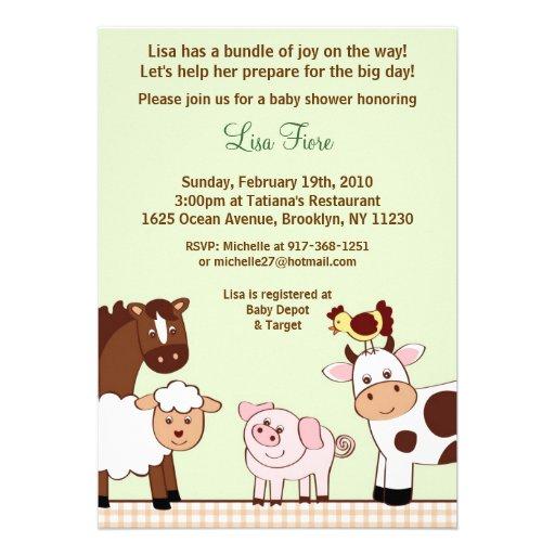 Farm Babies Farm Animals Baby Shower Invitations