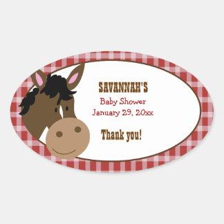 Farm Babies Horse Custom Oval Favor Stickers