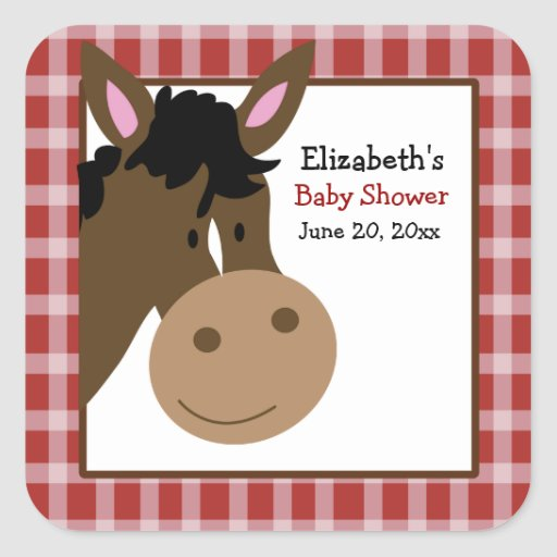 Farm Babies Horse Square Favor Stickers (6 Large)