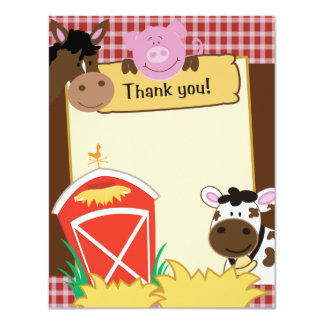"Farm Babies Writable Flat Thank you Card 4.25"" X 5.5"" Invitation Card"