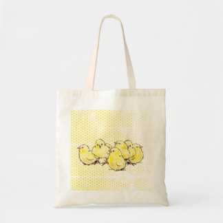farm baby chicks, yellow dotted backgroun Tote bag