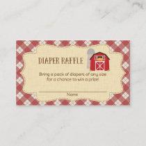 Farm Baby Shower Diaper Raffle Tickets Enclosure Card