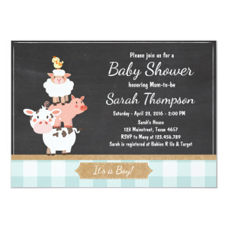 Farm Baby Shower invitation Country Baby Boy Blue