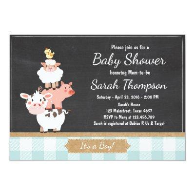 Cute Baby Farm Animals Baby Shower Invitation | Zazzle.com