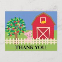 Farm, Barn, Apple Tree Pig Birthday Party Thank Postcard