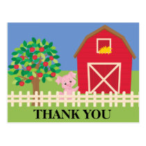 Farm, Barn, Apple Tree Pig Birthday Party Thank Postcard