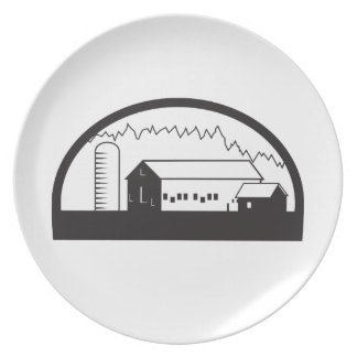 Farm Barn House Silo Black and White Dinner Plate