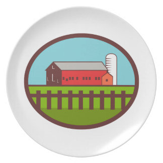 Farm Barn House Silo Oval Retro Plate