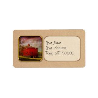 Farm - Barn - Red round barn Custom Address Label