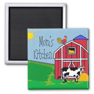 Farm Barn Rooster-Mom's Kitchen 2 Inch Square Magnet