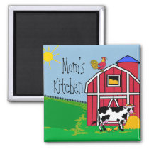 Farm Barn Rooster-Mom's Kitchen Magnet