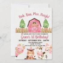 Farm Barnyard 1st Birthday Invitation