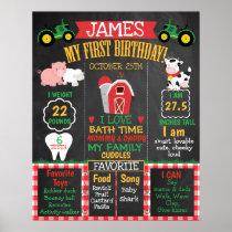 Farm Barnyard 1st Birthday Milestone Poster