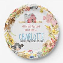 Farm Barnyard Animal Birthday Paper Plate
