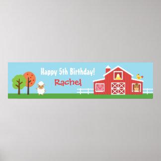 Farm Barnyard Animal Birthday Party Banner Poster