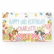 Farm Barnyard Animal Birthday Table Backdrop Banner