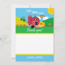 Farm Barnyard Animal Birthday Thank You