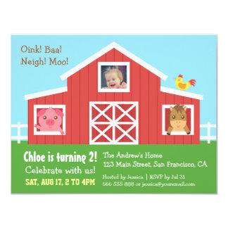 Farm Barnyard Animal Photo Birthday Party 4.25x5.5 Paper Invitation Card