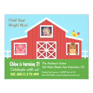 Farm Barnyard Animal Photo Birthday Party Card