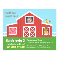 Farm Barnyard Animal Photo Birthday Party Invitation