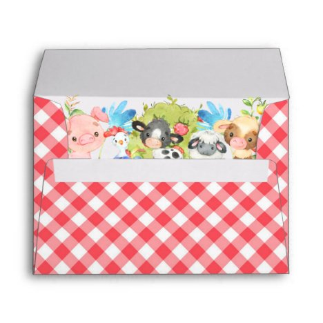 Farm Barnyard Animals 5x7 Card Invite Envelope