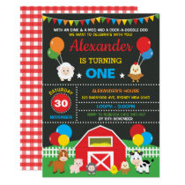 Farm Barnyard Animals Birthday Party Chalkboard Invitation