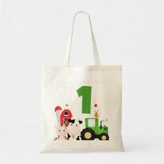 Farm Barnyard Animals Tractor 1st Birthday 1 Year Tote Bag