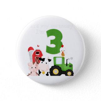 Farm Barnyard Animals Tractor 3rd Birthday 3 Year Button