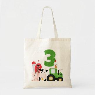 Farm Barnyard Animals Tractor 3rd Birthday 3 Year Tote Bag