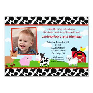 "Farm Barnyard Birthday Invitations 5"" X 7"" Invitation Card"
