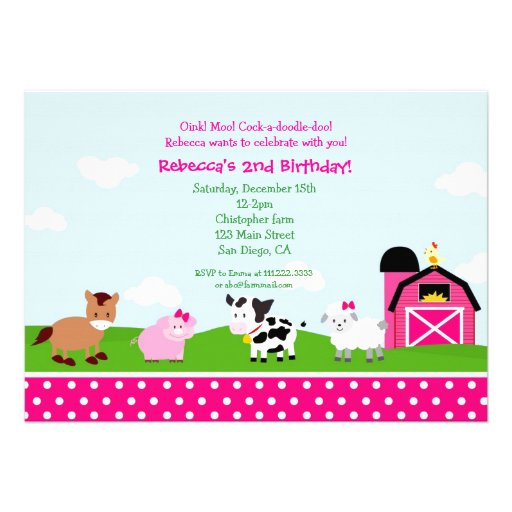 Farm Barnyard Birthday Invitations for girl