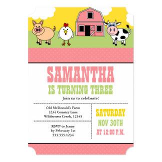 Farm Barnyard Birthday Party Pink Girl Invitation